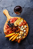 Meat and cheese plate Royalty Free Stock Photography