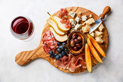 Meat and cheese plate Royalty Free Stock Photos