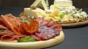 Meat and cheese plate - sliced prosciutto, salami sausage, parmesan and brie. Video of meat and cheese plate - sliced prosciutto, salami sausage, parmesan and stock footage