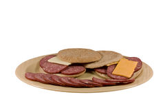 Meat and cheese platter isolated Stock Images