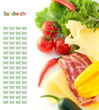 Meat, cheese, tomatoes and salad for sandwich Stock Photography