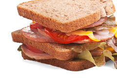 Meat, cheese and vegetable sandwich Royalty Free Stock Images