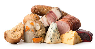 Meat and cheese  Stock Images