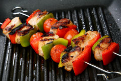 Meat, Cherry Tomato And Red And Green Pepper Skewe Royalty Free Stock Photo