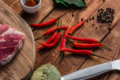 Meat with chili, cayenne powder and other spices Royalty Free Stock Images