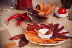 Meat chips Stock Photos