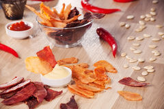 Meat chips Stock Images