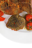 Meat with chives and tomatoes Royalty Free Stock Image