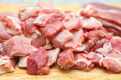 Meat chopped into small pieces Stock Images