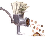 Meat chopper with dollars Royalty Free Stock Photo