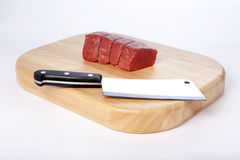 Meat cleaver. A meat cleaver and beef royalty free stock photography