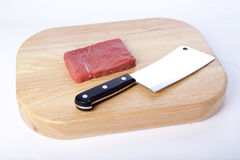 Meat cleaver. A meat cleaver and beef royalty free stock images