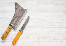 Meat Cleaver with Butcher Knife on Copy Space. Top View of Meat Cleaver and Butcher Knife with Copy Space Text Area stock photography