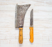 Meat Cleaver and Butcher Knife Royalty Free Stock Image