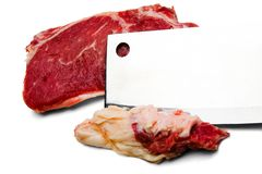 Meat Cleaver Cutting Beef Stock Photography