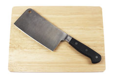 Meat cleaver on Cutting Board Stock Image