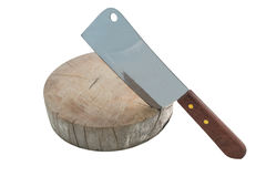 Meat cleaver on cutting board isolated Royalty Free Stock Images