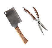 Meat cleaver and kitchen scissors Royalty Free Stock Photos