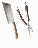 Meat cleaver and kitchen scissors Stock Photos