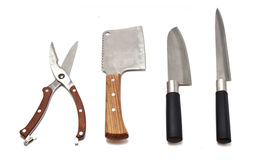 Meat cleaver, kitchen scissors and knives Stock Images