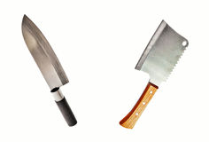 Meat cleaver and knife. Meat cleaver and asian knife isolated on white background royalty free stock images