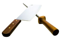 Meat cleaver with poker Royalty Free Stock Image