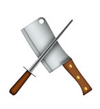Meat Cleaver & Sharpener. Stock Photography