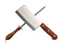 Meat Cleaver & Sharpener. Isolated on white. Clipping path stock photography