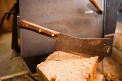 Meat Cleaver on Wood Stock Image