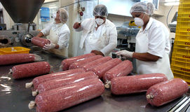 Meat. Close up of meat processing in food industry Royalty Free Stock Photo