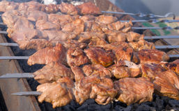 Meat and coal. Cooking fresh meat and coal stock photography