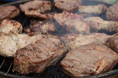 Meat on coals Royalty Free Stock Images