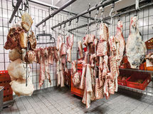 Meat in a cold storage house Royalty Free Stock Image