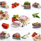 Meat collage on white background Royalty Free Stock Photography