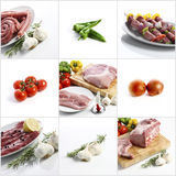 Meat collage on white background Stock Images
