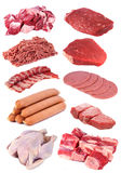 Meat Collection. Collection of high resolution uncooked cow meat on white background stock photos