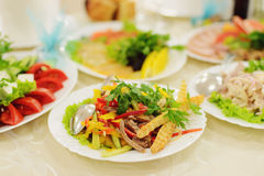 Meat Colorful Salad Stock Photo