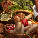 Meat composition- sausages, becon and lard Stock Images