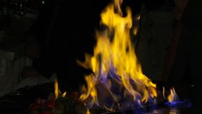 Meat cooked on fire. stock video