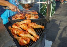 The meat is cooked grilled. Barbecue on the coals royalty free stock photo