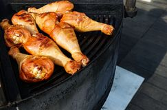 The meat is cooked grilled. Barbecue on the coals stock photography