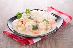 Meat cooked with vegetable and cream Stock Image