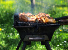 Meat cooking on barbecue Royalty Free Stock Photo