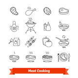 Meat cooking thin line art icons set Stock Image