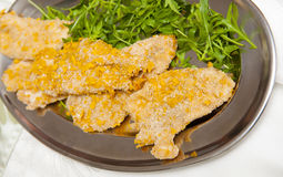 Meat with corn breadcrumbs Royalty Free Stock Photos