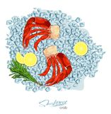 Meat crab with rosemary and lemon on ice cubes. Vector illustrationin cartoon style. Seafood product design. Inhabitant. Wildlife of underwater world Royalty Free Stock Image