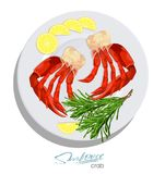 Meat crab with rosemary and lemon on the plate. Vector illustrationin cartoon style. Seafood product design. Inhabitant. Meat crab with rosemary and lemon on the Royalty Free Stock Images