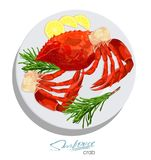 Meat crab with rosemary and lemon on the plate. Vector illustrationin cartoon style. Seafood product design. Inhabitant. Meat crab with rosemary and lemon on the Stock Photo