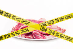 Meat crime scene concept against white background. Meat crime scene concept isolated on white stock image