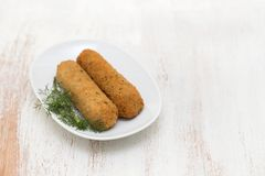 Meat croquettes on white dish Stock Image
